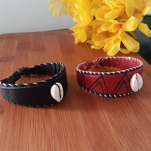 2PC Beautiful African Cowrie Leather Bracelet Set